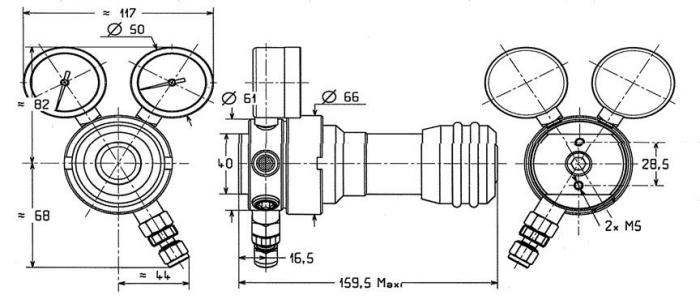 Reduktor dla gazów korozyjnych wysokiej i ultra wysokiej czystośc SI 220